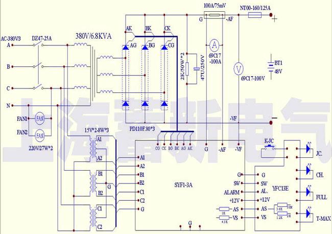 船用充电机电气原理图纸